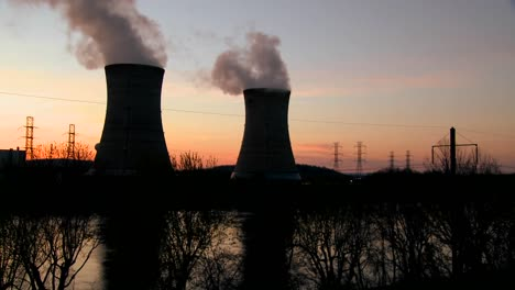 Sunset-behind-nuclear-power-plant