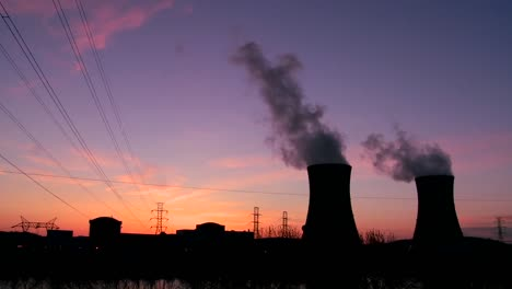 Beautiful-time-lapse-of-sunset-behind-a-nuclear-power-plant