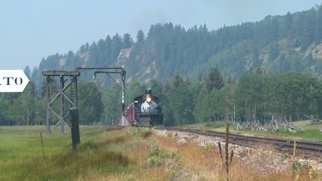 A-steam-train-goes-through-the-Rocky-Mountains