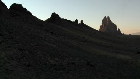 Late-dusk-behind-rocky-outcroppings-near-Shiprock-New-Mexico
