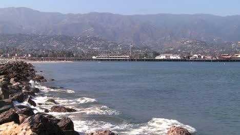 Waves-break-along-the-southern-california-coast-at-Santa-Barbara