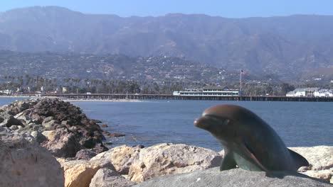 A-dolphin-sculpture-graces-the-entrance-to-Santa-Barbara-harbor