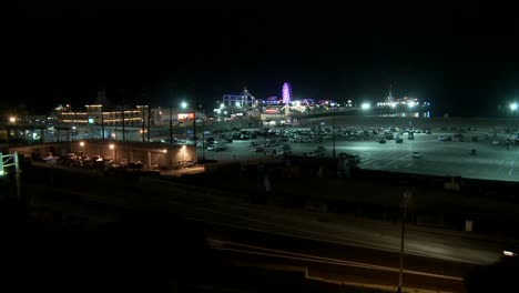 A-night-shot-of-the-Santa-Monica-pier-in-Los-Angeles-and-traffic