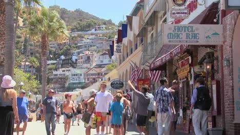Multitudes-De-Verano-En-El-Malecón-De-La-Isla-Catalina-En-El-Sur-De-California