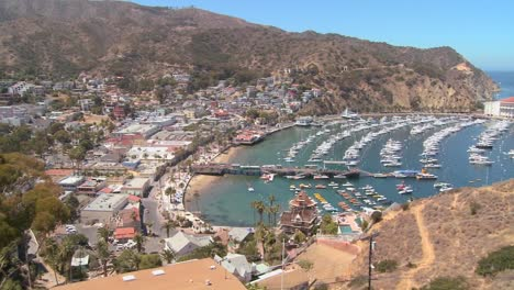 High-angle-overview-of-the-town-of-Avalon-on-catalina-IslandC-1