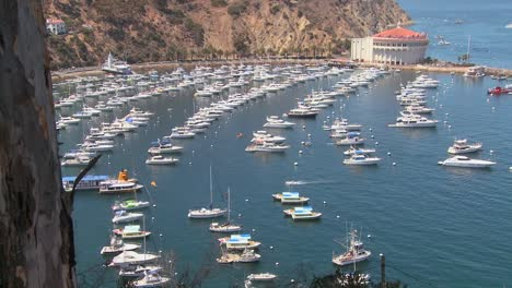 High-angle-wide-overview-of-the-town-of-Avalon-on-catalina-Island-with-the-opera-house-in-background