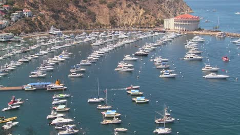 High-angle-wide-overview-of-the-town-of-Avalon-on-catalina-Island-with-the-opera-house-in-background-1