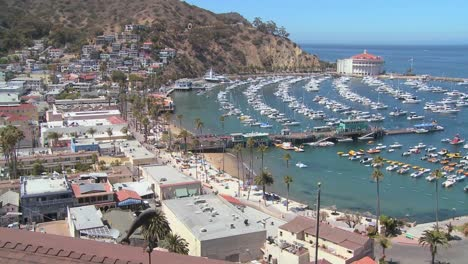 High-angle-wide-overview-of-the-town-of-Avalon-on-catalina-Island-with-the-opera-house-in-background-2