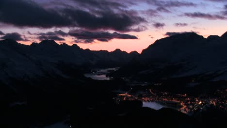 Beautiful-time-lapse-shot-of-sunset-behind-a-mountain-town-2
