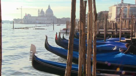 Rows-of-gondolas-line-a-canal-in-Venice-Italy