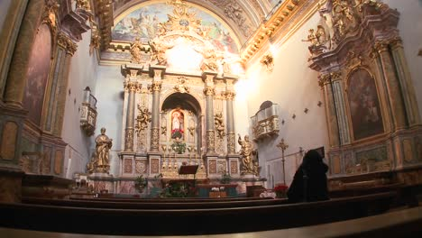 The-interior-of-a-small-ornate-Catholic-church-1