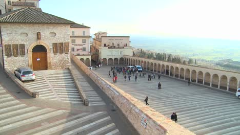 A-view-over-the-main-church-in-the-town-of-Assisi-Italy