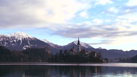 A-church-stands-on-a-small-island-in-Lake-Bled-Slovenia