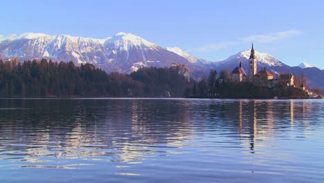 A-church-stands-on-a-small-island-in-Lake-Bled-Slovenia-2