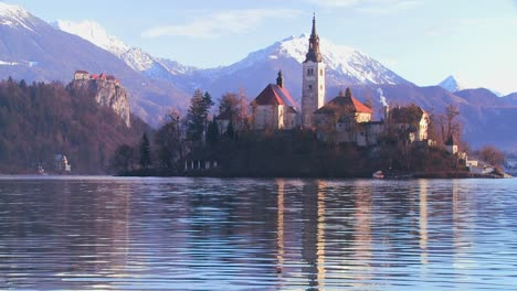 A-church-stands-on-a-small-island-in-Lake-Bled-Slovenia-3