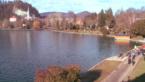 A-sunny-day-on-the-shores-of-Lake-Bled-Slovenia