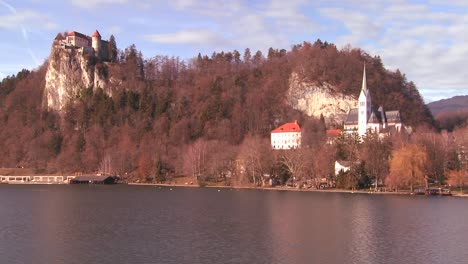A-beautiful-medieval-castle-and-church-on-the-shores-of-Lake-Bled-Slovenia