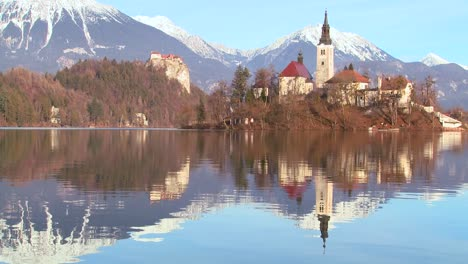 A-church-stands-on-an-island-at-Lake-Bled-Slovenia-3