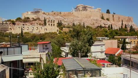 Plano-Amplio-De-Atenas-Grecia-Para-Revelar-La-Acrópolis-Y-El-Partenón