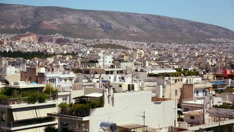 Amplia-Toma-Panorámica-Panorámica-De-Atenas-Grecia-Bajo-El-Sol