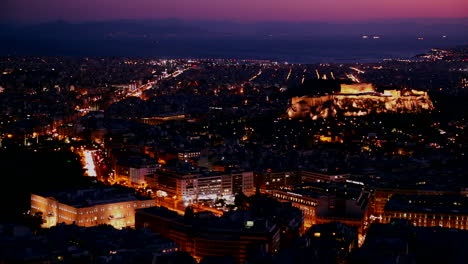 Beautiful-establishing-shot-of-Athens-Greece-and-the-Acropolis-at-dusk-or-night-1