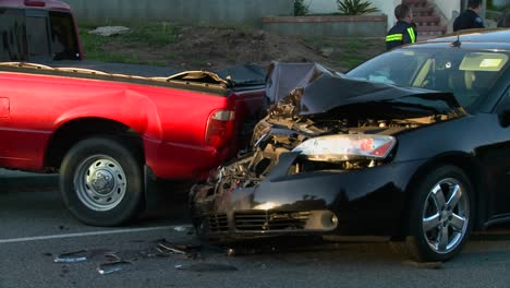 Vehicles-are-wrecked-in-a-car-accident-on-a-city-street
