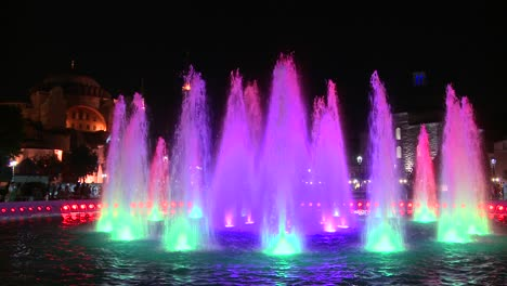 Colorful-fountains-in-istanbul-Turkey-at-dusk-or-night