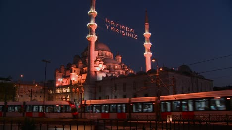 A-tram-passes-in-front-of-a-mosque-in-istanbul-Turkey-at-night-1