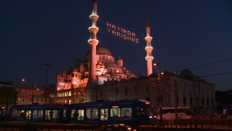 A-tram-passes-in-front-of-a-mosque-in-istanbul-Turkey-at-night-2