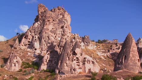 The-strange-towering-dwellings-and-rock-formations-at-Cappadocia-Turkey