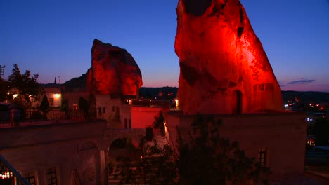 A-strange-cave-hotel-glows-in-the-dusk-at-Cappadocia-Turkey