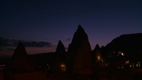 Strange-spires-are-silhouetted-at-dusk-at-Cappadocia-Turkey