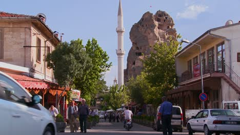 An-attractive-village-in-Central-Turkey-in-the-region-of-Cappadocia-with-pedestrians-on-street