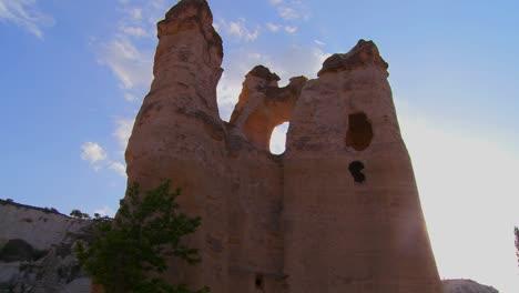 Pan-across-bizarre-geological-formations-at-Cappadocia-Turkey