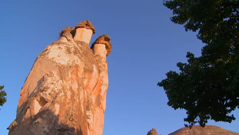 Low-angle-of-bizarre-geological-formations-at-Cappadocia-Turkey