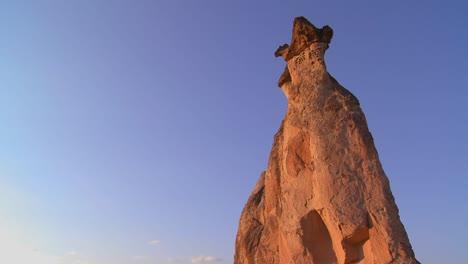 Bizarre-geological-formations-looks-like-a-cowboy-wearing-a-hat-at-Cappadocia-Turkey