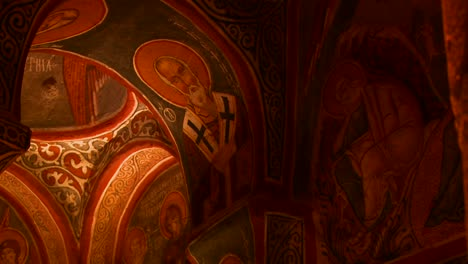 Low-angle-view-of-Christian-painted-ceilings-in-a-cave-near-Cappadocia-Turkey-2