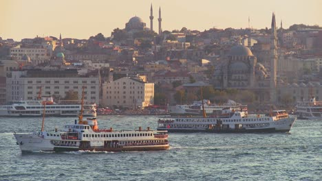 Boats-and-ferries-cross-the-busy-Bosphorus-in-istanbul-Turkey-2