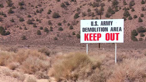 A-sign-warns-trespassers-not-to-enter-an-army-proving-ground-area-in-Nevada