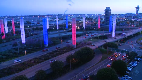 The-colorful-lights-of-Los-Angeles-International-airport-glow-in-the-dark