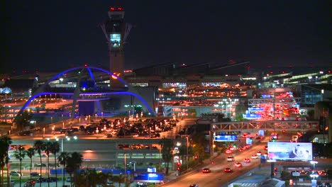 An-overview-of-Los-Angeles-International-airport-at-dusk-with-traffic-arriving