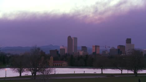 The-skyline-of-Denver-Colorado-skyline-at-dusk-in-purple-light