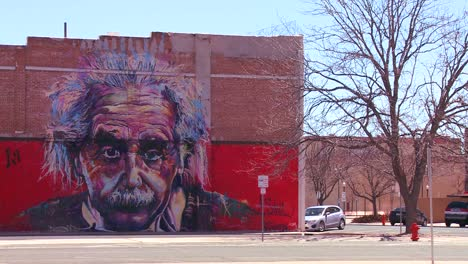 A-mural-of-Albert-Einstein-is-painted-on-a-building