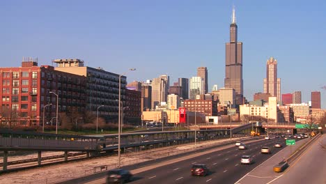 Time-lapse-of-cars-drive-on-a-freeway-heading-into-Chicago-Illinois