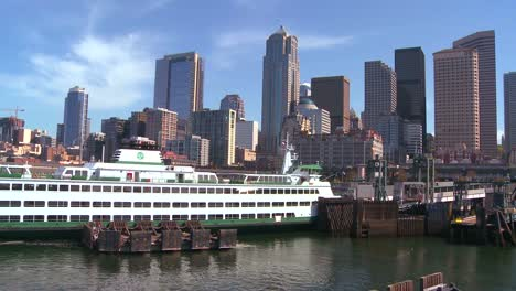 The-Seattle-skyline-from-the-harbor-with-ferry-boats-in-foreground