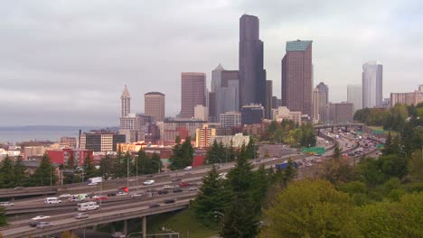 Traffic-moves-along-a-busy-freeway-into-Seattle-Washington