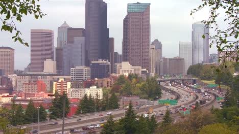 Traffic-moves-along-a-busy-freeway-into-Seattle-Washington-1
