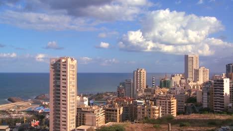 Un-Lapso-De-Tiempo-Del-Horizonte-De-Beirut-Líbano