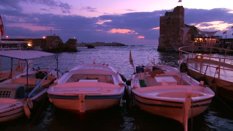 Fishing-boats-bob-in-the-waves-at-the-beautiful-and-historic-fishing-village-of-Byblos-on-the-coast-of-Lebanon