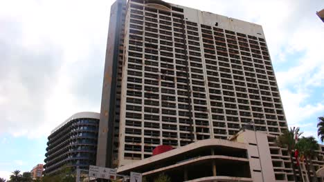 Low-angle-view-of-the-destroyed-Holiday-Inn-in-Beirut-Lebanon-a-memorial-to-the-civil-war